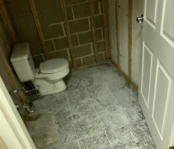 Post powder room after mitigation and demolition