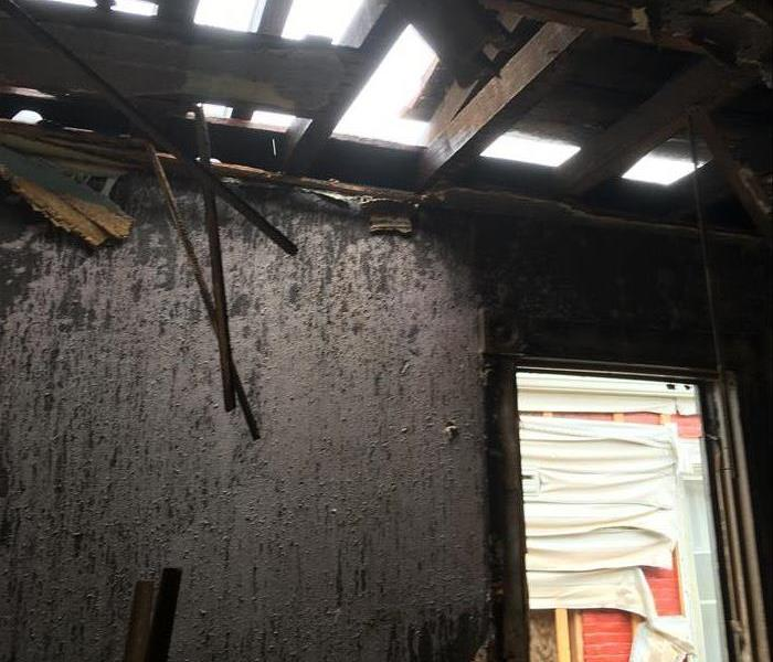 Walls with soot damage
